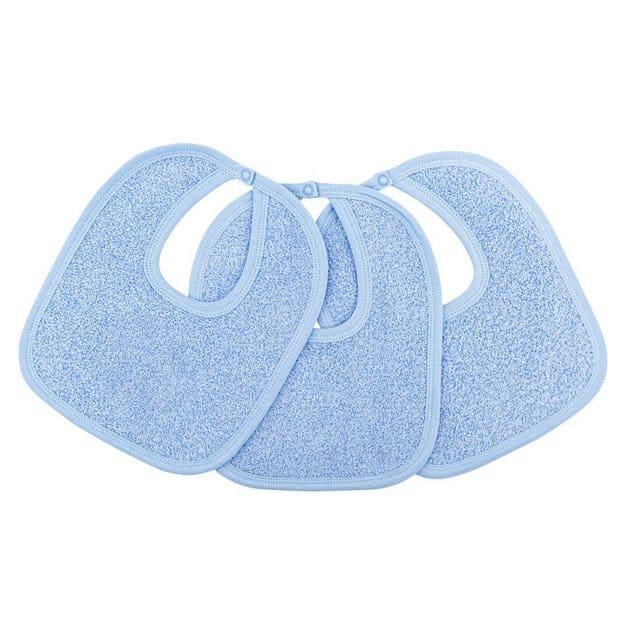 trois bavoirs bleus pour bébé avec look sympa