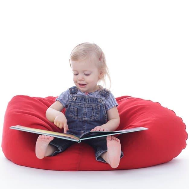 bébé qui regarde des photo d'animaux sur un transat rouge