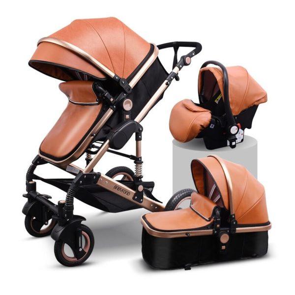 Brown PU poussette de bebe 3 en 1 poussette de p variants 9